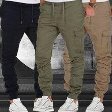 Calças de carga dos homens elástico bolso múltiplo militar calças masculinas casuais ao ar livre corredores calças calças de moda