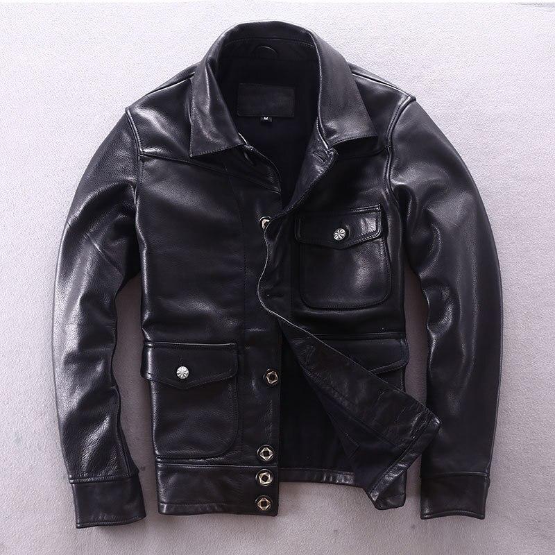 2020 Motorcycle Men Cowhide Genuine Leather Jacket Male Slim Fit Short Multi-pocket Locomotive Clothing Biker Coat
