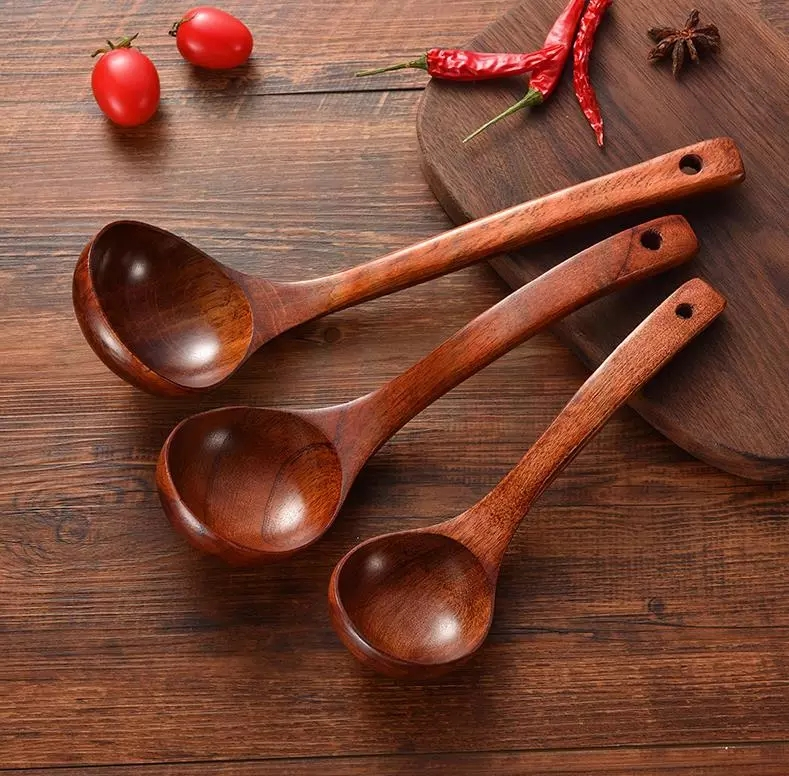1pc Long Handled Wooden Soup Spoons Bamboo Wood Kitchen Cooking Utensil Tools