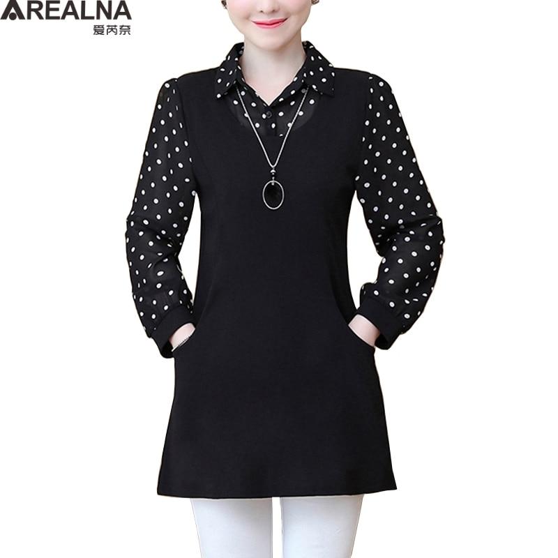 Vintage Casual Long Shirt Long Sleeve Ploka Dot Chiffon Fake Two Pieces Womens Tops And Blouses Plus Size Streetwear Blouse 5XL