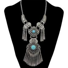 Gypsy Vintage Color Plated Natural Beads Hollow Out Flower Tassel Pendant Necklace Indian Party Bohemian Jewelry graceful hollow out beads necklace for women