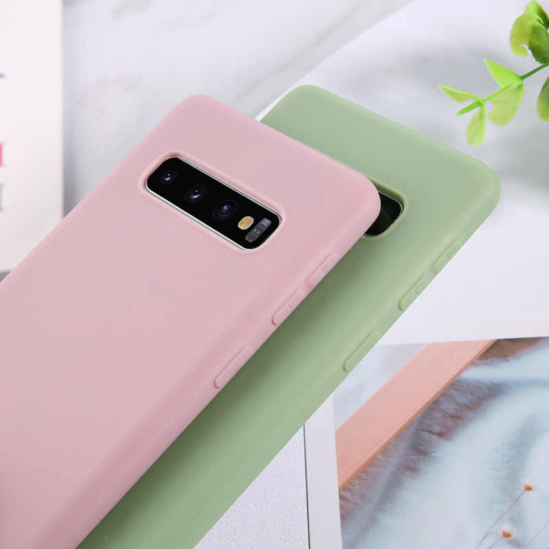 USLION Şeker Renk Yumuşak Telefon samsung kılıfı Galaxy A30 A50 A70 A80 S10 S9 S8 Artı A6 A7 A9 2018 Not 9 8 TPU Silikon Kapak
