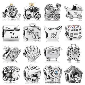 PDB ZZ 32 Quality Fine Jewelry Charm Beads Carriage Alarm Clock Aircraft Union Jack Bus Seashell Majestic Swan 925s Charm Beads(China)