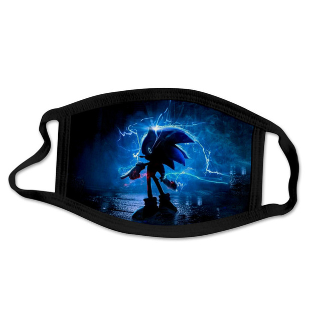 Sonic The Hedgehog  Mask Windproof And Dustproof 3D Printing Washable Cartoon Mask For Children And Adults Cosplay Costume