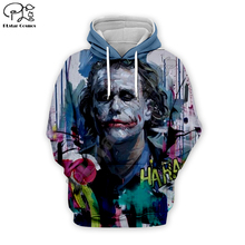 Men women 2019 haha joker Hoodies 3D Print Sweatshirt Funny hooded Joaquin Phoenix art Harajuku zipper coat pullover tshirt top
