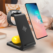 цена на Qi Charger 10W 3 in 1 Wireless Charger for Galaxy Buds Gear S4 S3 S2 Dock Charger Wireless Charger Stand for Samsung S10 S9 plus