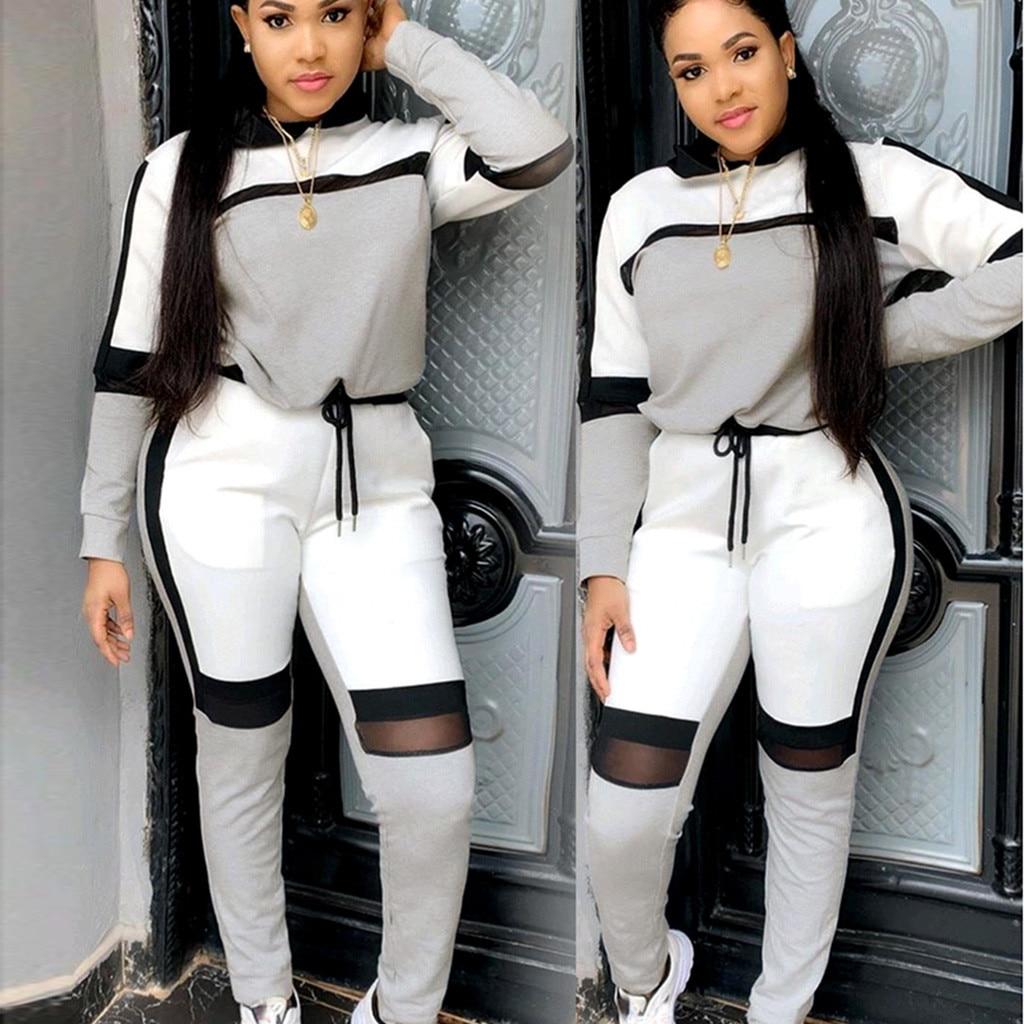 Splicing Sports Set 2020 New Women Suit Set Hot Sale Women Tracksuit Two-piece Style Outfit Sweatshirt Sport Wear Tracksuit L1