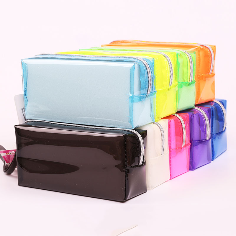 Colorful Candy Clear Pencil Bags Transparent Plastic Pen Case Box Cosmetic Makeup Zipper Bag Pouch Escolar School Office Supply