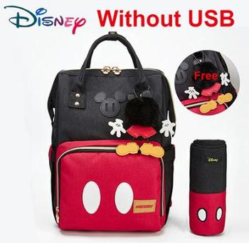 Disney Diaper Bag Backpack For Moms Baby Bag Maternity For Baby Care Nappy Bag Travel Stroller USB Heating Send Free 1Piar Hooks - With Hook