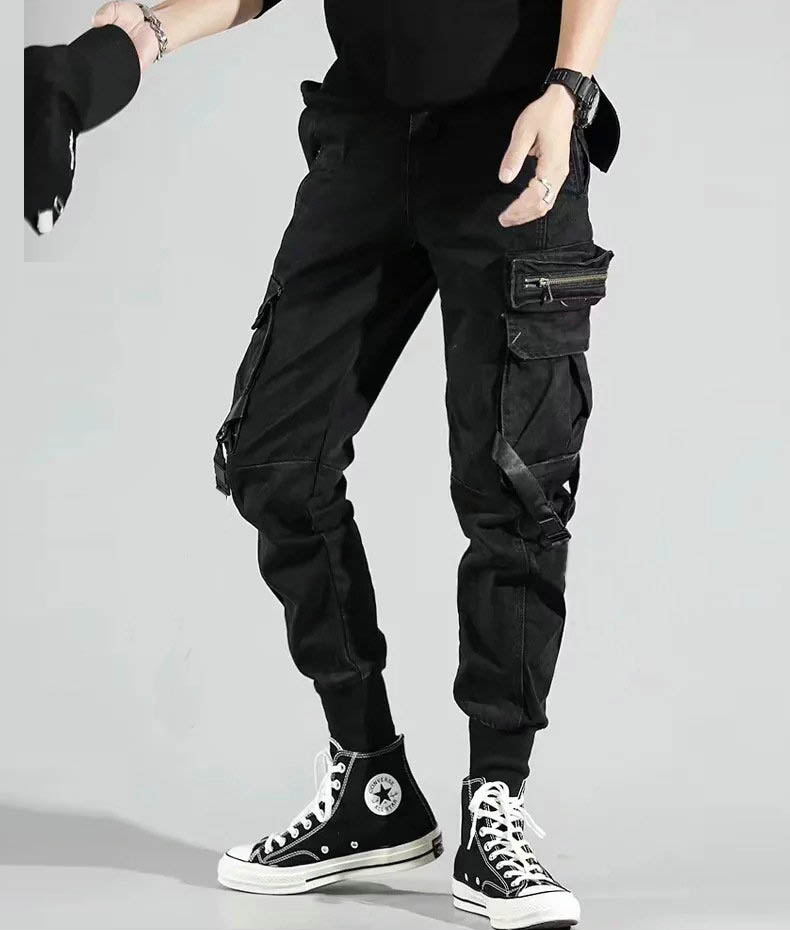 He1f5ffa8b7164f0c9cece9ac125b531ai - Men's Side Pockets Harem Pants Autumn Hip Hop Casual Ribbons Design Male Joggers Trousers Fashion Streetwear Pant Black
