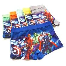Crianças calcinha crianças meninos boxer herói briefs spidercartoon underwear criança cueca dos desenhos animados algodão avenger 4 pçs pant