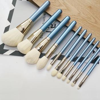 11pcs Sky Blue Makeup Brush Super Soft Fiber Make Up Brushes Set Foundation Powder Blush Blending Eyeshadow Brush Cosmetic Tools