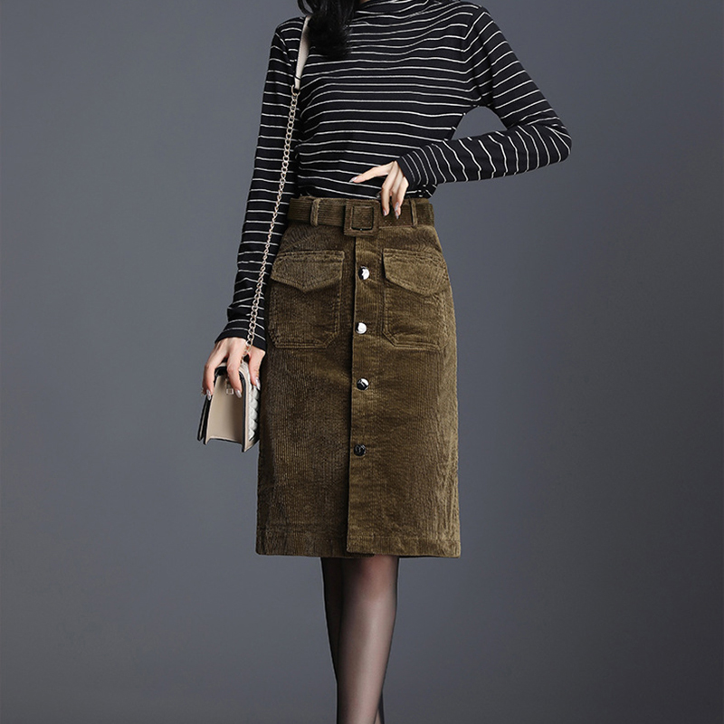 Women Suede Pencil Skirts Female Vintage Style 2019 Winter Short Skirts Solid Slim Suede Leather Skirts