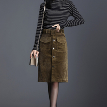 Women Suede Pencil Skirts Female Vintage Style 2019 Winter Short Solid Slim Leather