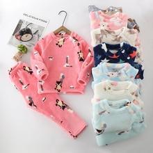 Зимние фланелевые детские пижамные комплекты детская теплая одежда для сна принты животных из мультфильмов одежда для сна для маленьких мальчиков и девочек детские пижамы для девочек