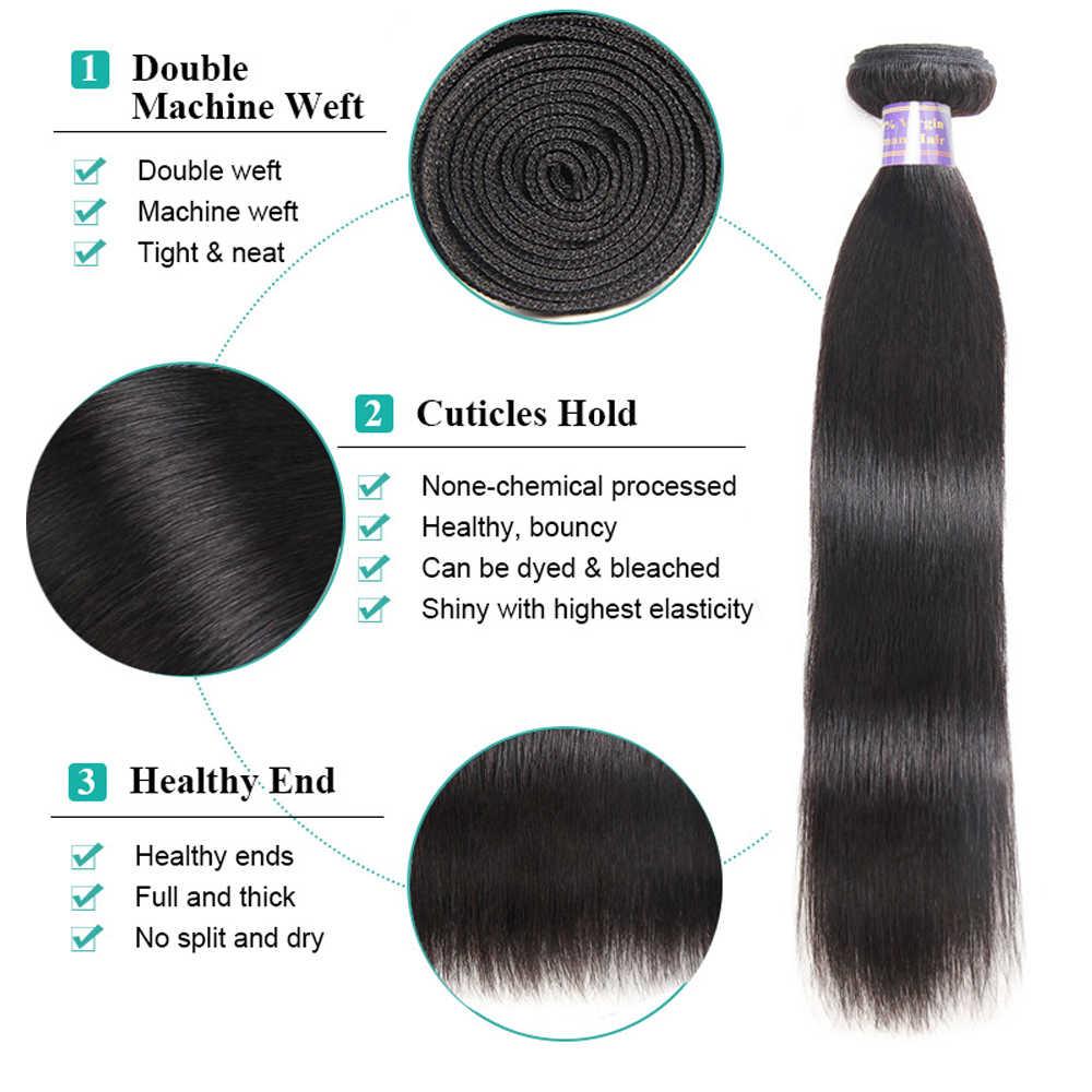 Allove düz saç demetleri brezilyalı saç örgü demetleri 100% insan saç demetleri 30 32 34 36 38 inç olmayan Remy saç 1/3/4 adet