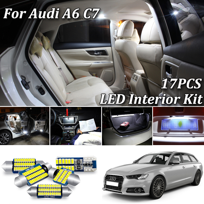 17Pcs Canbus No Error White LED Car Interior Light Kit for Audi A6 S6 RS6 C7 4G Quattro Sedan Avant LED Interior Dome Map Light image