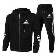 2020 Casual Tracksuit Men Sets Hoodies And Pants Two Piece Sets Zipper Hooded Sweatshirt Outfit Sportswear Male Suit Clothing
