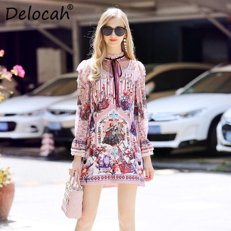 Delocah, модное осеннее Мини Короткое платье для подиума, женское платье с расклешенными рукавами, с принтом персонажа, кружевное Сетчатое элег...