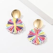 Bohemian Hand-Woven Lafite Earrings Geometric Earrings Colorful White Geometric Drop Earrings Jewelry New Fashion  ,1Pair geometric faux gem drop earrings