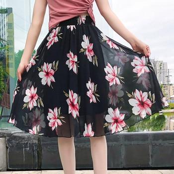 цена на Floral Skirt Women's Mid-Length High Waist plus Size A- line Drape Expandable Printed Elastic Waist Pleated Chiffon Skirt