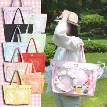 Women's Transparent Clear Handbags Lolita Lace Bow Shoulder Bag Ita Bag Cosplay