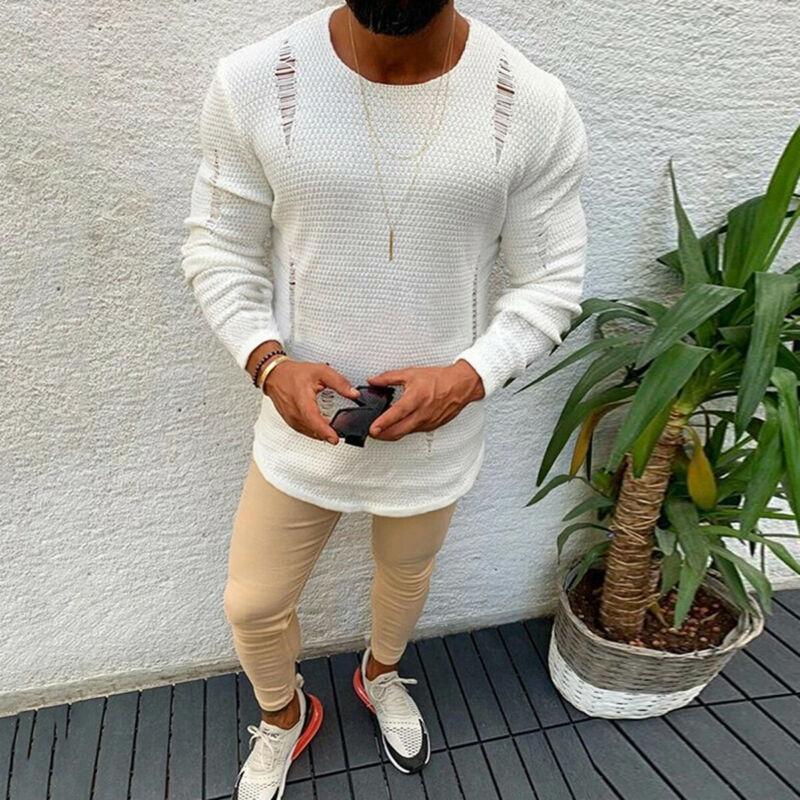 Newest 2020 Men Ripped Knitwear Sweater Male Plain O-Neck Long Sleeve White Sweater Plus Size S-2XL