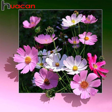 Huacan diamante bordado venda flores imagens de strass quadrado completo broca diamante mosaico pintura diamante flores beadwork