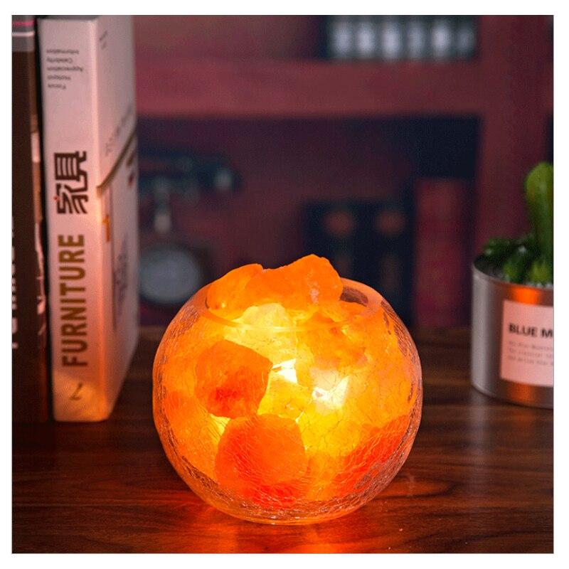 Rotary Dimming Super Beautiful Himalayan Glass Ice Cracked Natural Salt Light Creative Warm Night Lamp
