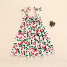 Children Cherry Print Sling Dress with Ruffles, Girls Large Hem Sleeveless Lace-up Dress Clothes