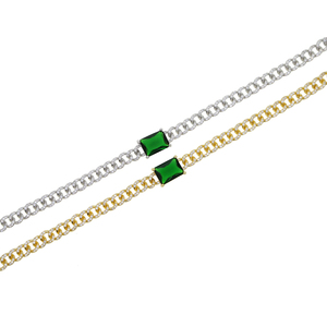 Image 4 - Big green baguette cz Miami Cuban link chain necklace for women iced out bling cz chain choker 32+8cm