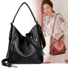2019 Black Large Women Shoulder Bag Female Hobos Tote Bags Big Patchwork High Quality Soft PU Leather Lady Messenger Bucket