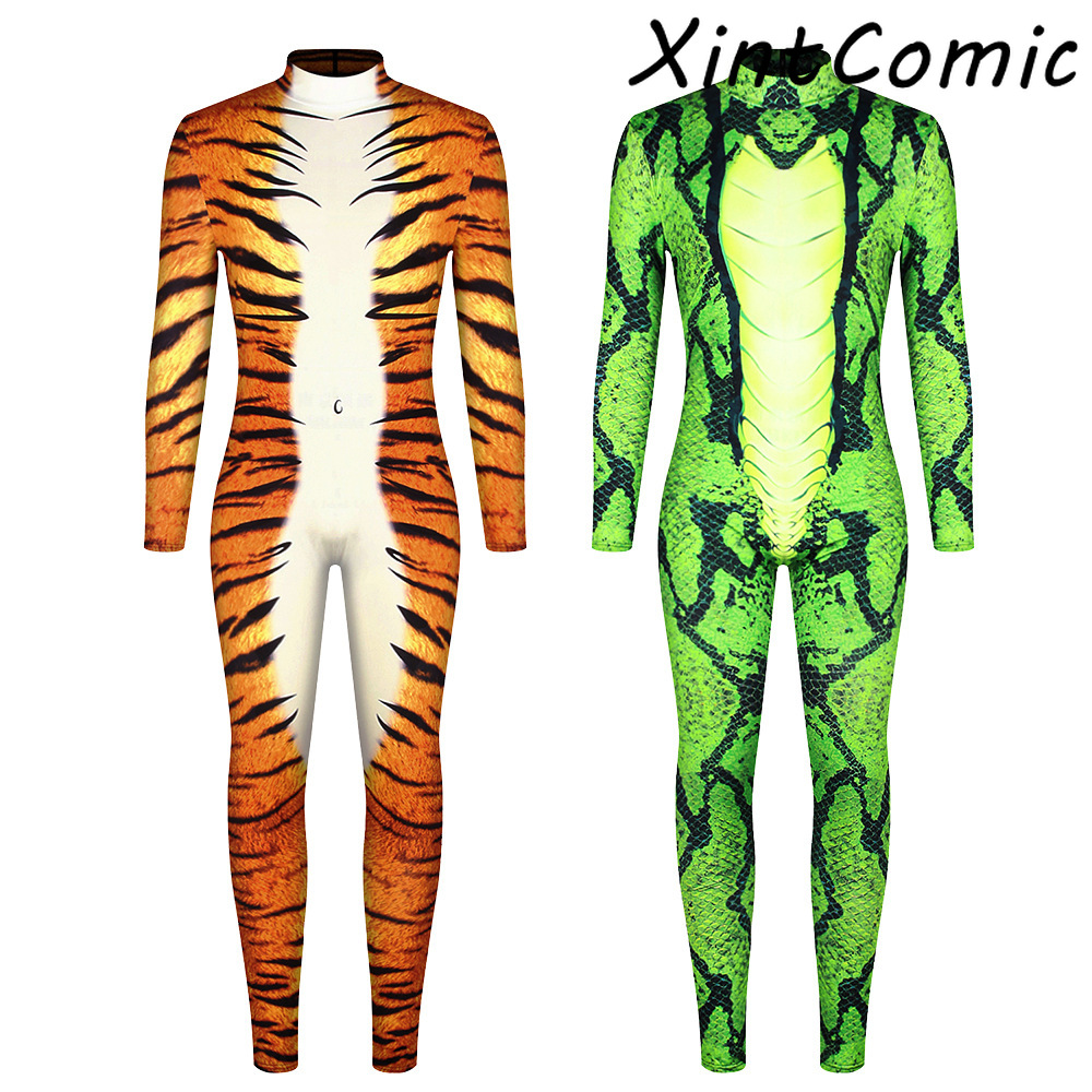 Leopard Bodysuit for <font><b>Men</b></font> <font><b>Sexy</b></font> Bodycon Skinny BodySuit Turtleneck <font><b>Costumes</b></font> Playsuit Printed Romper <font><b>Halloween</b></font> Jumpsuits image