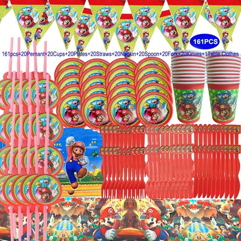 Марио День рождения Дети Baby Shower детская посуда баннер чашка тарелка набор праздвечерние подарки декоративные принадлежности Украшения своими руками для вечеринки      АлиЭкспресс