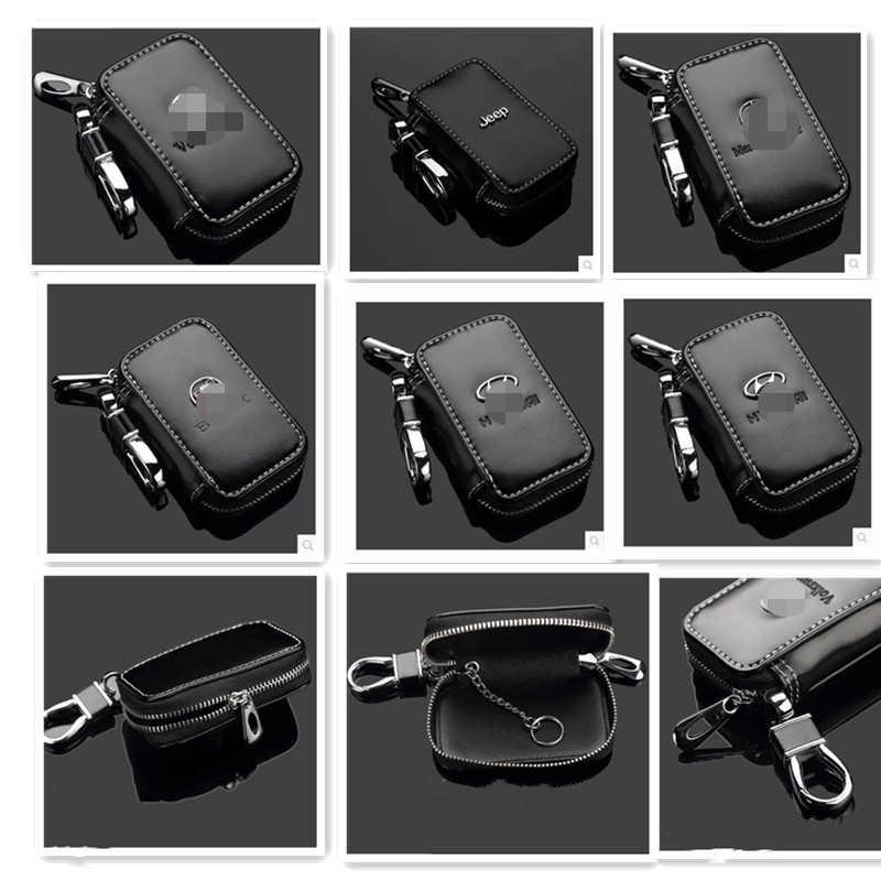 自動車部品車のキーケース、本革スマートキーチェーンキーホルダーホルダー金属フックとキーリングジッパーバッグ forremote キーフォブ黒