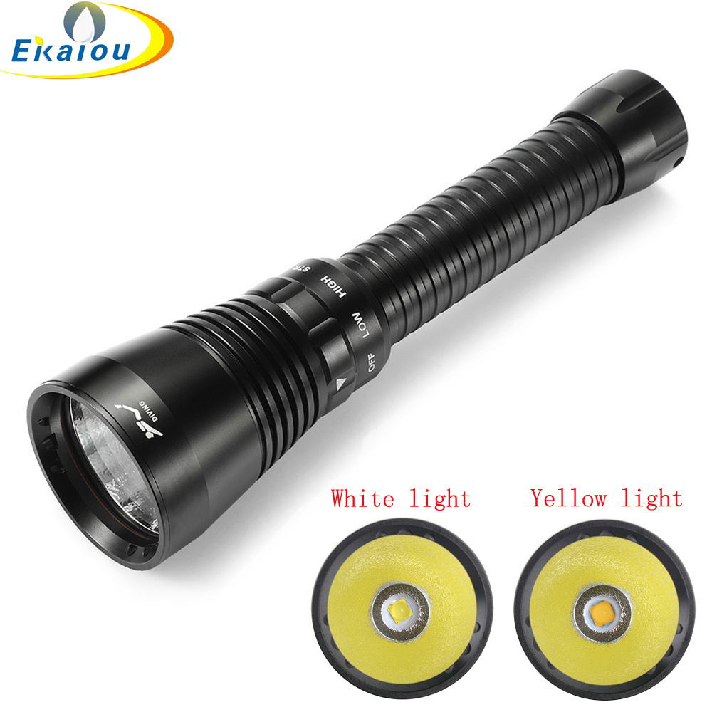 Powerful Underwater Scuba Flashlight High Lumen XHP70.2 LED Waterproof Torch Ultra Bright Yellow/White Light Diving Lamp