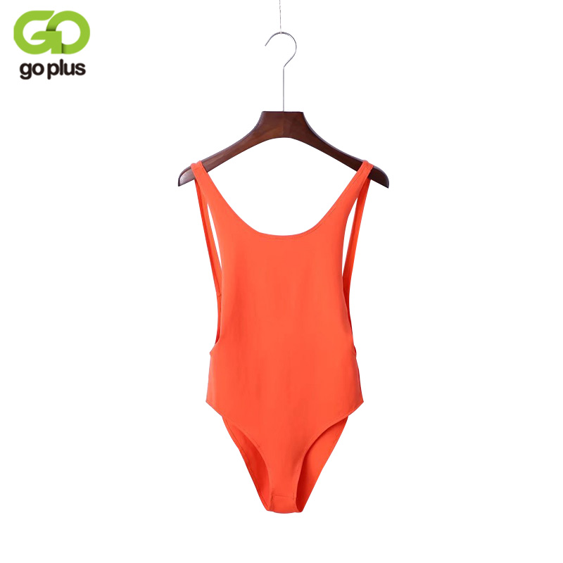 GOPLUS Sexy Bodysuit 2020 Summer Orange Sleeveless Backless Women Jumpsuit Bandage Body Romper Casual Ladies Slim Bodysuit C3996