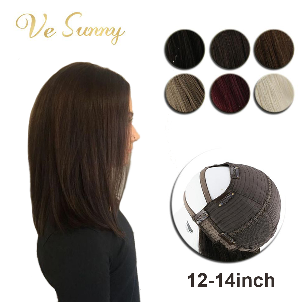 VeSunny U Part Half Wig 100% Real Human Hair With Clips On Solid Color Black Brown Blonde Shoulder Length Short Hair 12-14inches