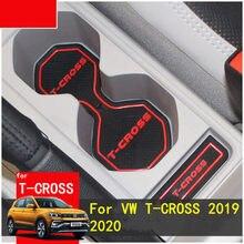 Esteira de borracha lnanterior anti deslizamento esteira entalhe porta almofada copo groove esteira para volkswagen T-CROSS 2019 2020 acessórios do carro 15 pçs