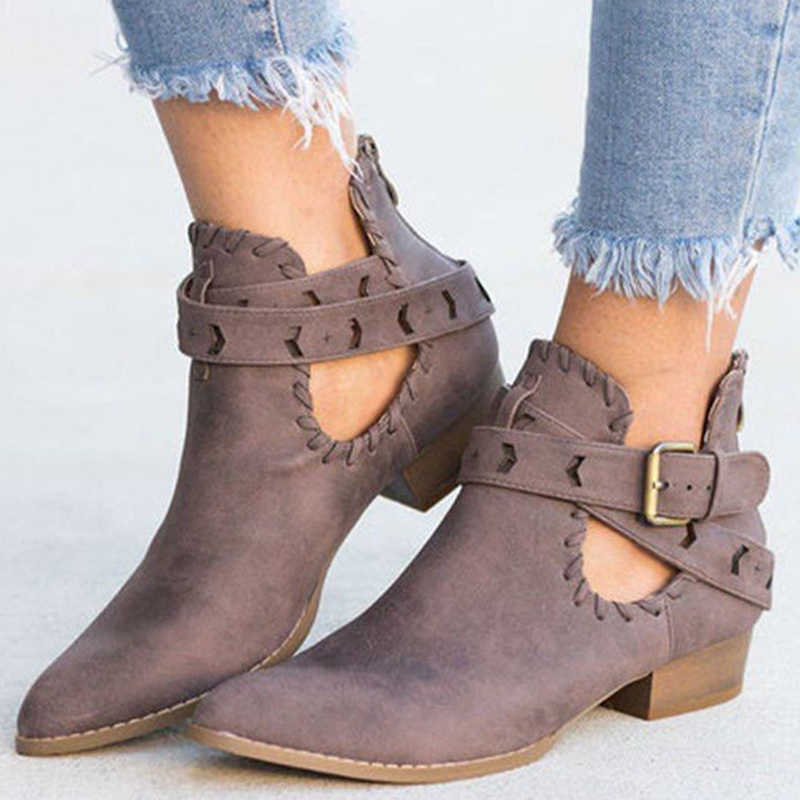 Winter Women Boots Faux Suede Slim Biker Ankle Weaving Belt Point Toe Platform High Thick Heels Ladies Shoes Zapatos De Mujer(China)