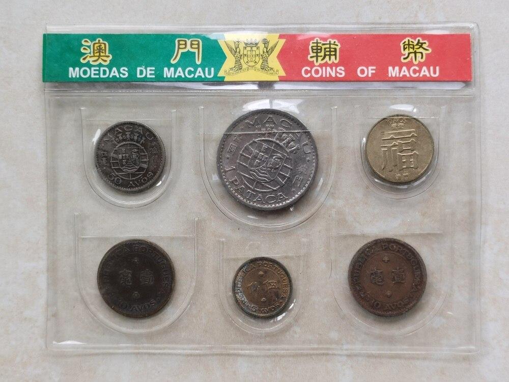 Macau 5 centavos-1 centavos-5 centavos-1 yuan conjunto completo 6 peças moedas genuínas moeda original real