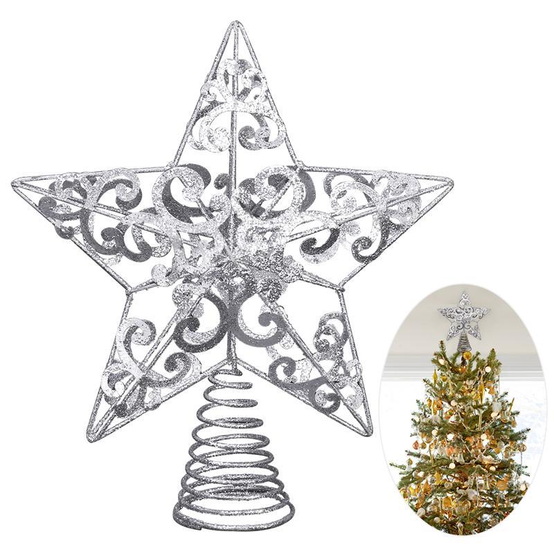 Glitter Star Christmas Xmas Tree Topper Decoration Xmas TreeTop Glitter Ornament