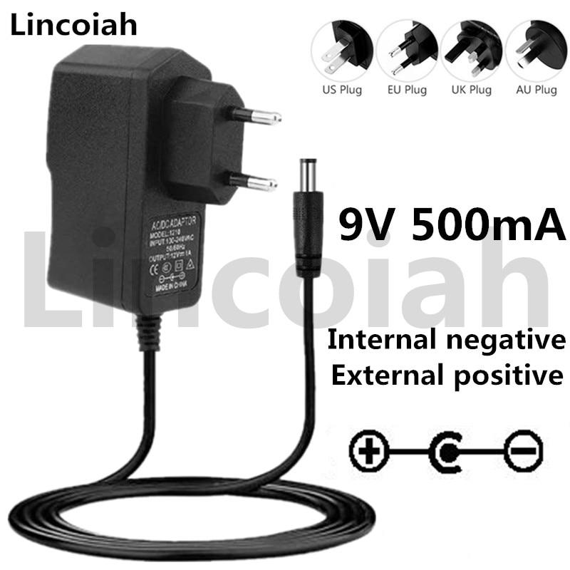 9v 0.5a 500ma ac/dc adaptador fonte de alimentação carregador parede para hotone ditto looper guitarra pedal