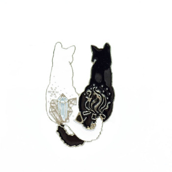Hot Sale Cartoon White Black Cat Enamel Metal Brooch Creative Fun Animal Tail Entwined Cat Badge Fashion Jewelry Accessories image