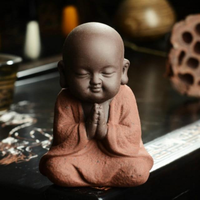 Small Monk Buddha statues wear  Gold Necklace color sand ceramic home club geomantic decoration Purple Sand Figurines Tea Pet 4