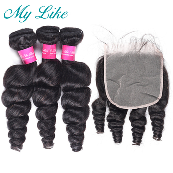 My Like Loose Wave Bundles With Closure Peruvian Loose Wave Hair 3pcs With Lace Closure 6x6 Transparent Lace Baby Hair Non remy