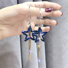 five-pointed star earrings Korea temperament long tassel exaggerated rhinestone personality women