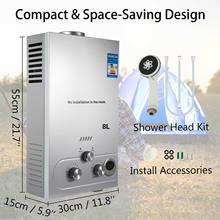 Calentador de agua instantáneo sin tanque de Gas propano, 8L, LPG, caldera con Kit de Ducha