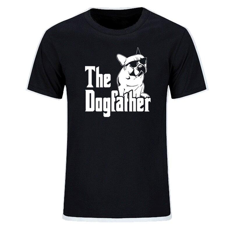 >The Dogfather Dog Dad French Bulldog Funny T Shirts Men Summer Cotton Harajuku Short Sleeve O <font><b>Neck</b></font> <font><b>Streetwear</b></font> Tops EU Size