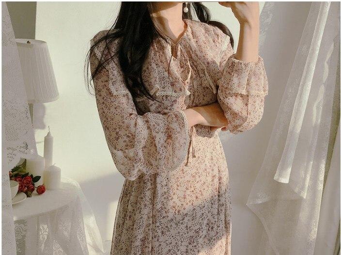 He1f78e854e7849d0857370dae5da7d6fB - Autumn Puritan Collar Long Sleeves Chiffon Floral Print Lace-Up Slim Midi Dress